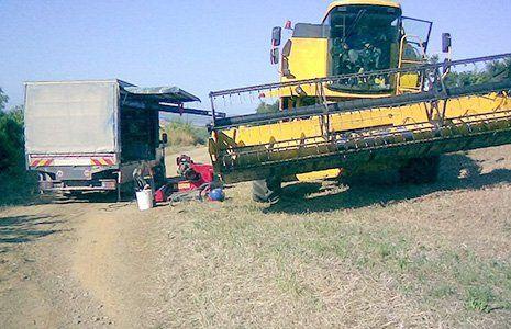 vista di una mietitrebbia in un campo e accanto un camion