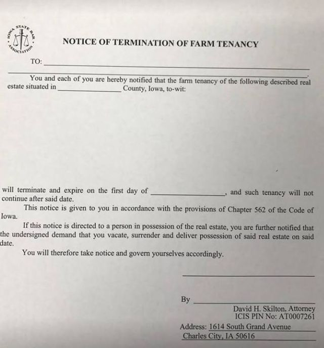 Deadline for Farm lease Termination