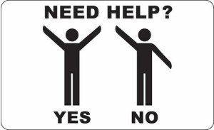 due omini che fanno dei gesti e la scritta Need Help yes no