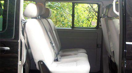Seats inside our minibus