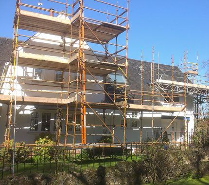 scaffolding at a house