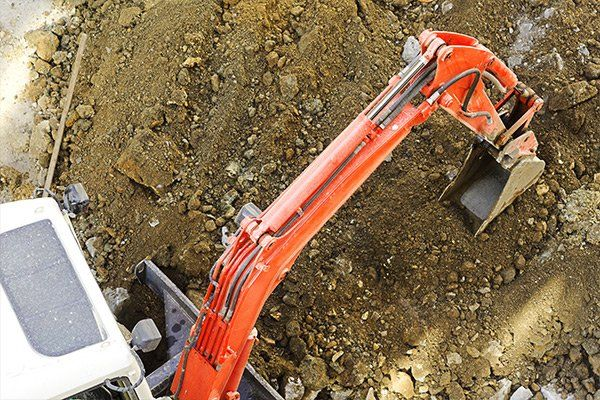 Excavator working in construction land