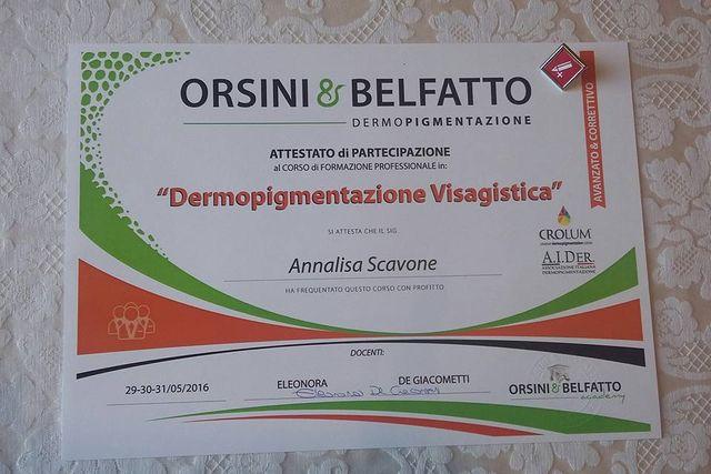 un attestato di partecipazione in dermopigmentazione visagistica