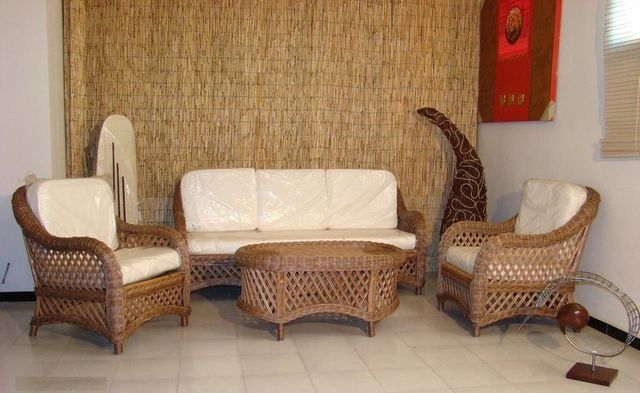 Poltrone In Rattan Da Interno.Arredamento In Rattan Midollino Vimini Naturale In Bambu Naturale