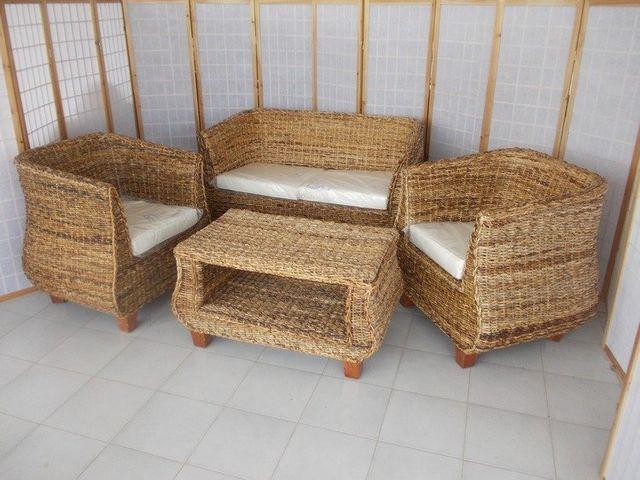 Salotto In Banano.Arredamento In Rattan Midollino Vimini Naturale In Bambu