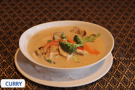 Thai curry at the restaurant in Wellington