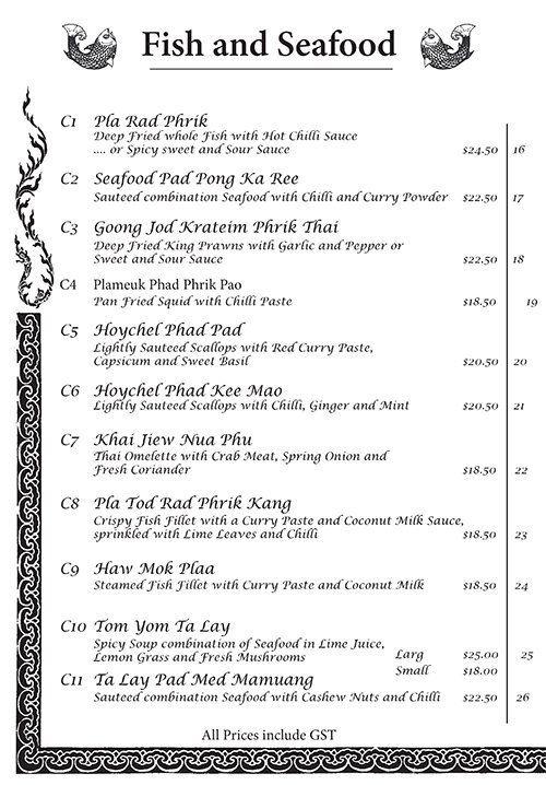 Fish and seafood menu