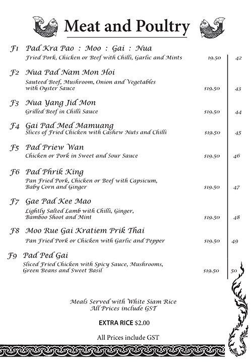 Meat and poultry dish menu