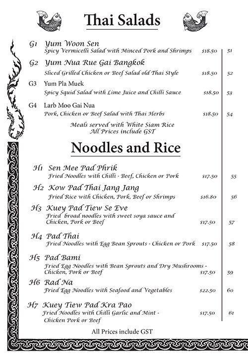 Thai salads, Noodles and rice menu