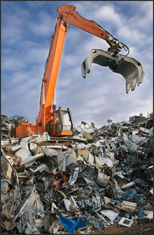 A crane above scrap metal
