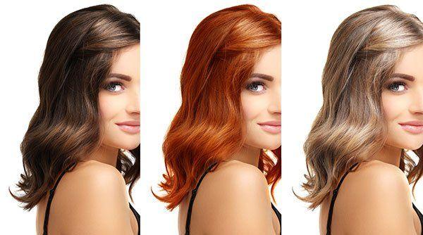 Foto della stessa ragazza con capelli di diverso colore: castani, rossi e biondo.