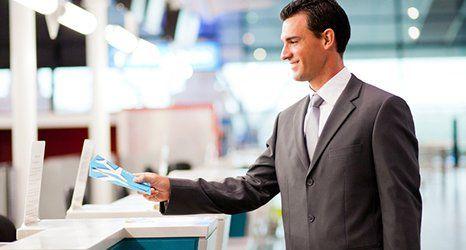 A man happy at airport