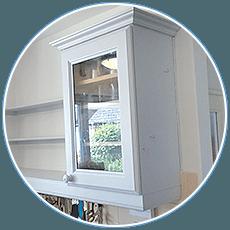 white coloured kitchen cabinets