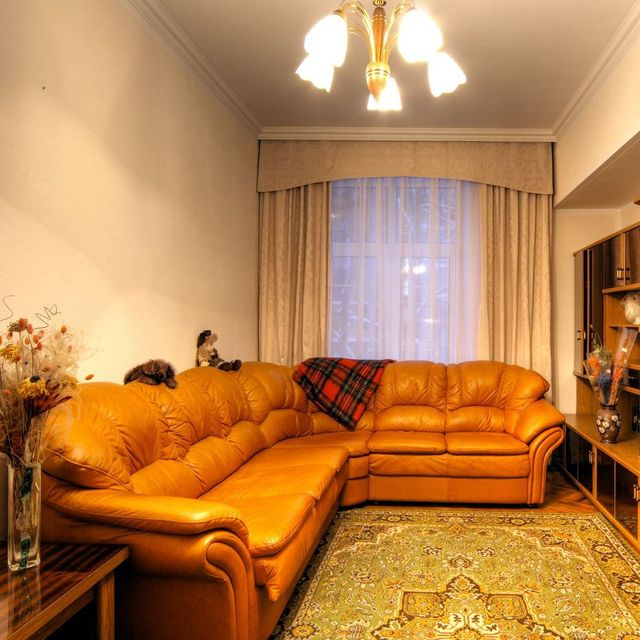 A large leather sofa in a living room