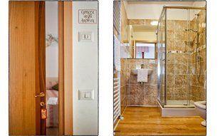 porta di una camera e panoramica di un bagno