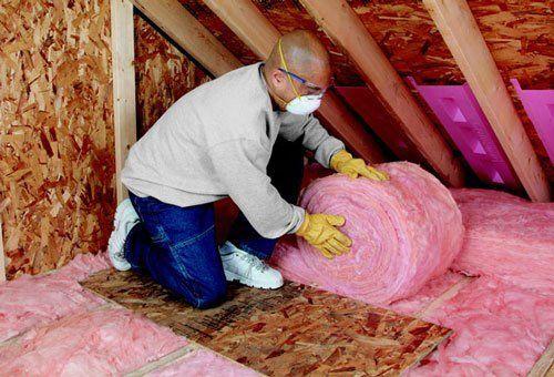 Insulation attic pink roll