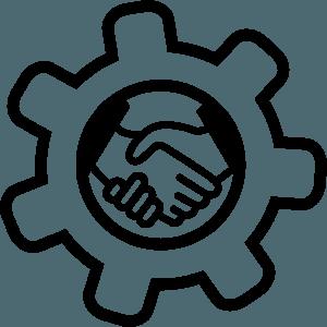 icona stretta di mano tra cliente e commercialista