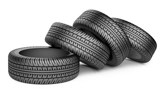 tyres on white background