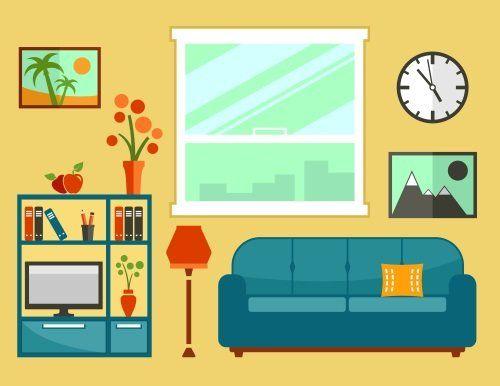 un disegno colorato di un salotto con un divano