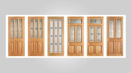 Oak glazed double door