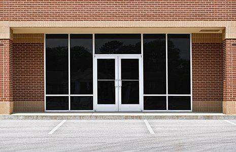 Entrance with black glassed double door