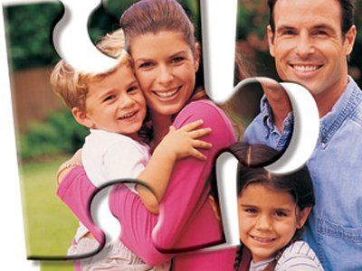 Two jigsaw-piece-shaped images, one showing a young Mum holding a little boy, and the other one showing the Father with a little girl