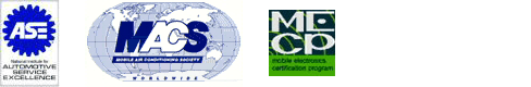 ASE certified logo, MACS certified logo and MECP certified logo