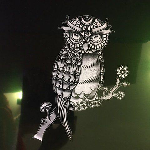 laser etched owl