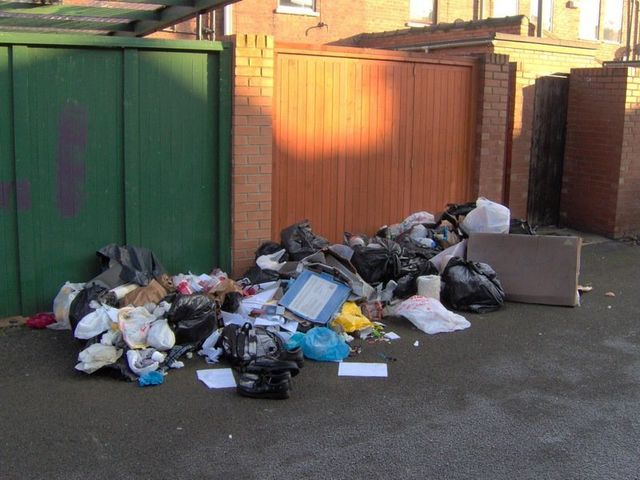 rubbish in front of the home