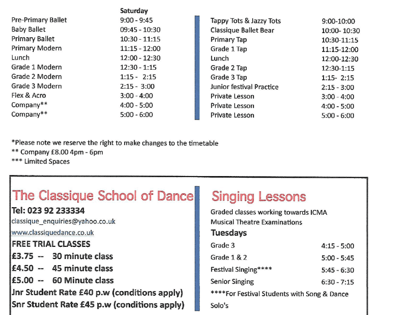 Timetable for dance classes