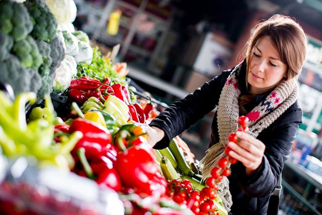 A woman picking nutritious food