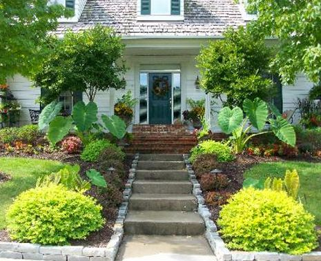 Landscaping done at the entrance of the house in  Columbia, MO