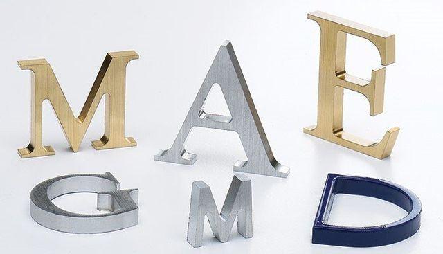 Sample flat cut metal letters