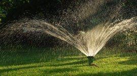 Prato sprinkler spruzzi d'acqua in un giardino