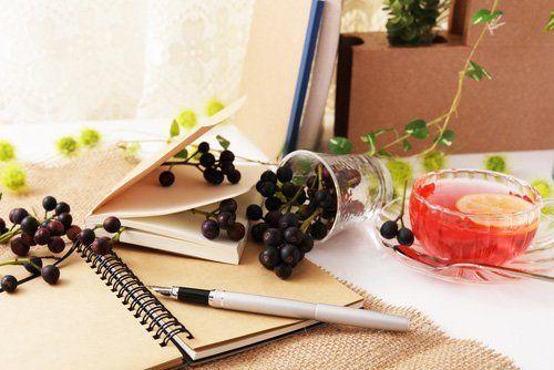 un quaderno con una penna e dell'uva appoggiata su un libro