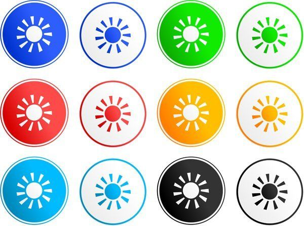 varie icone di sole colorate