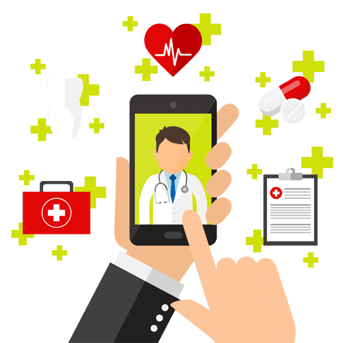 illustration of smartphone finding doctor