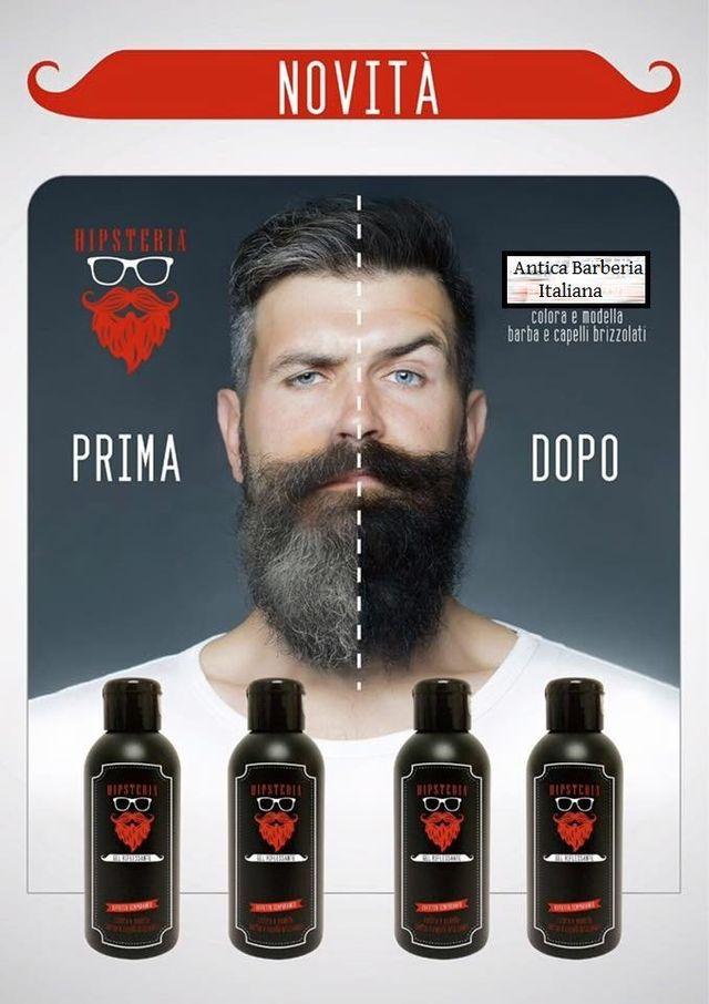 un volantino con scritto novita' con un uomo con occhi azzurri e barba al centro con sotto dei prodotti in bottigliette e scritta Antica Barberia Italiana