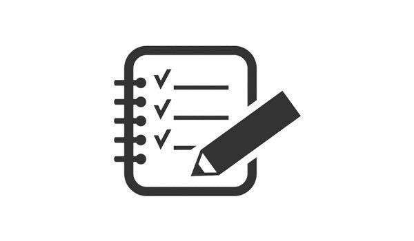 Icona di un documento con dei campi spuntati e accanto una matita