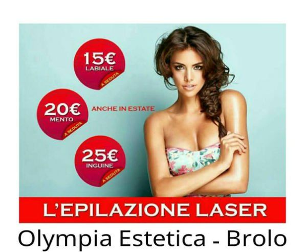 una foto di una ragazza  e accanto i prezzi dell'epilazione laser