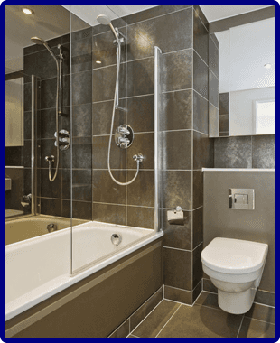 Modern bathroom with large grey tiles