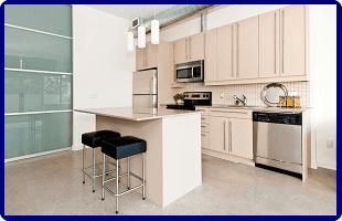 A modern,cream kitchen