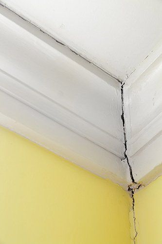 crack in ceiling water damage