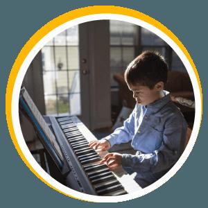 Children's piano lesson