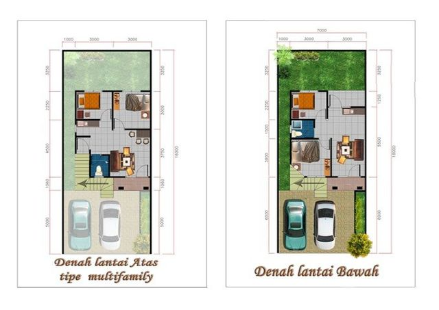floorplan denah rumah modern multi-family graha anandaya properti developer palembang
