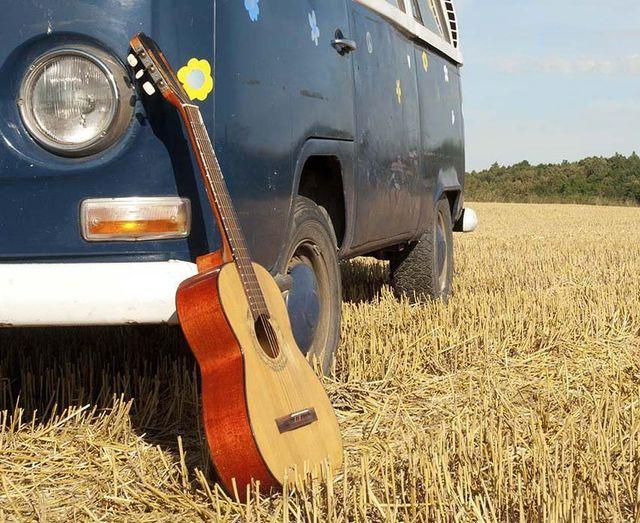 guitar on the farm field