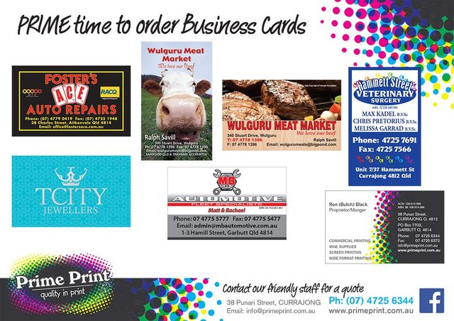 Call us today on 07 4725 6344 for competitively priced custom business cards