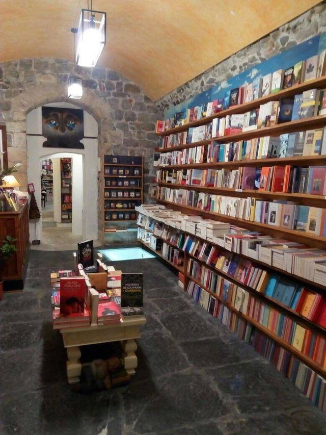 lunghi scaffali pieni di libri