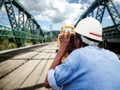 Surveyor engineer on the Bridge