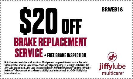 Brake Service Coupons >> Utah Jiffy Lube Brake Replacement Services